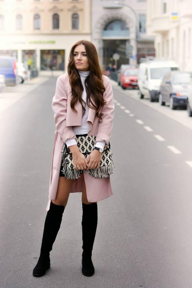 pink coat street style bmodish