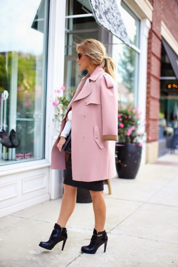 pink coat winter fall outfit bmodish
