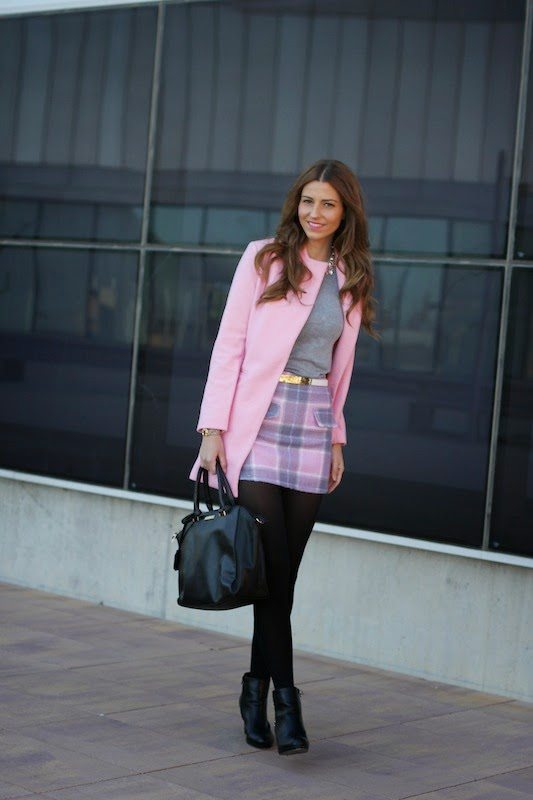 pink coat winter outfit bmodish