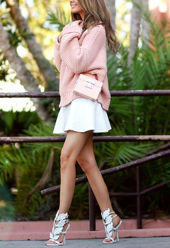 pink cozy sweater outfit bmodish
