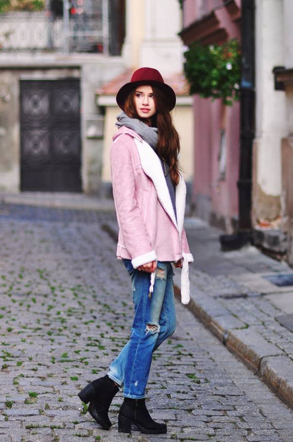how to wear pink suede shearling jacket fall style bmodish