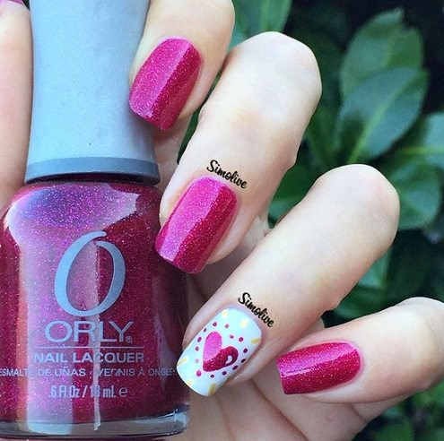 pink valentines day nail design via bmodish