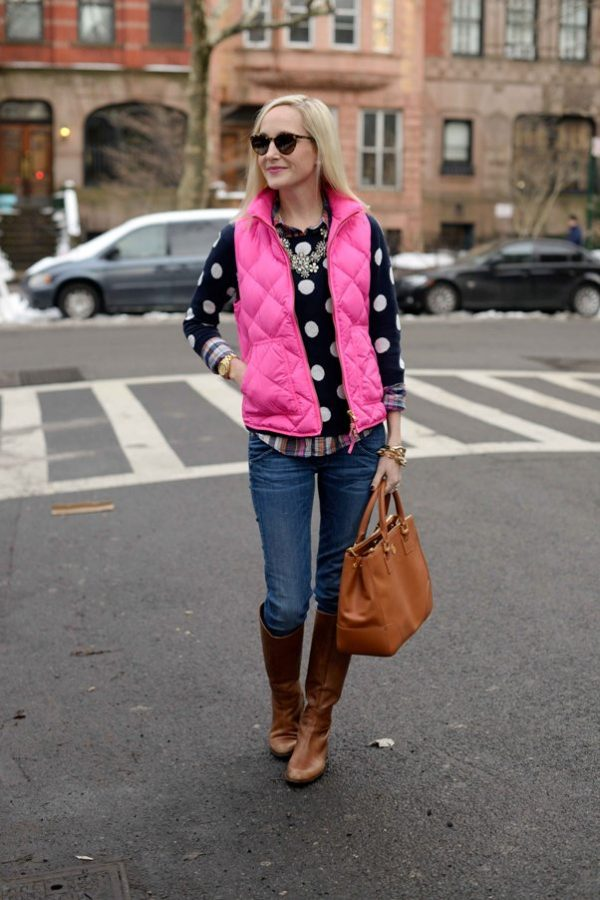 pink vest with polka dots jumper fall winter outfit