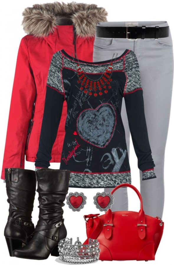 red and grey outfit for valentines day bmodish