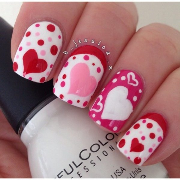 red and pink valentine nailart bmodish