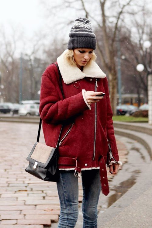 red shearling jacket winter outfit via bmodish