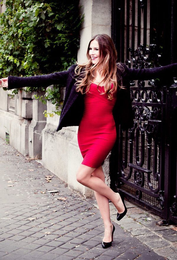 red-dresses-black-cardiganslook- valentine dress bmodish