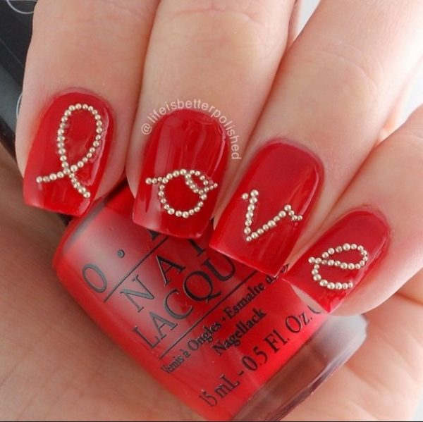 red love nail design bmodish