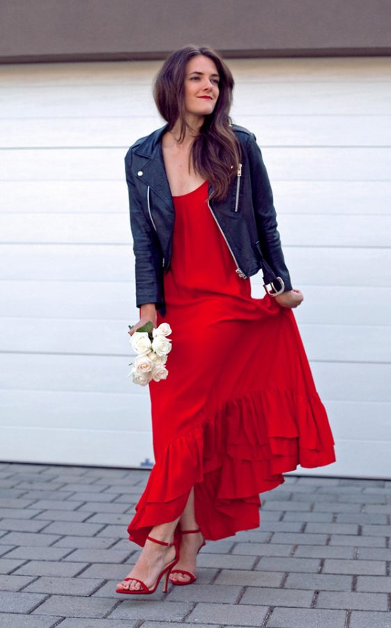 red maxi dress with biker jacket valentine dress bmodish