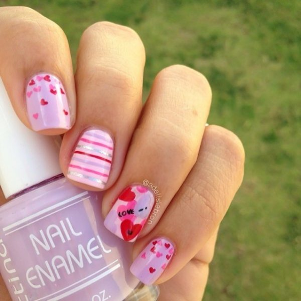 simple valentine nail design bmodish - 22 Beautiful Valentine Nail Designs To Symbolize Love - Be Modish