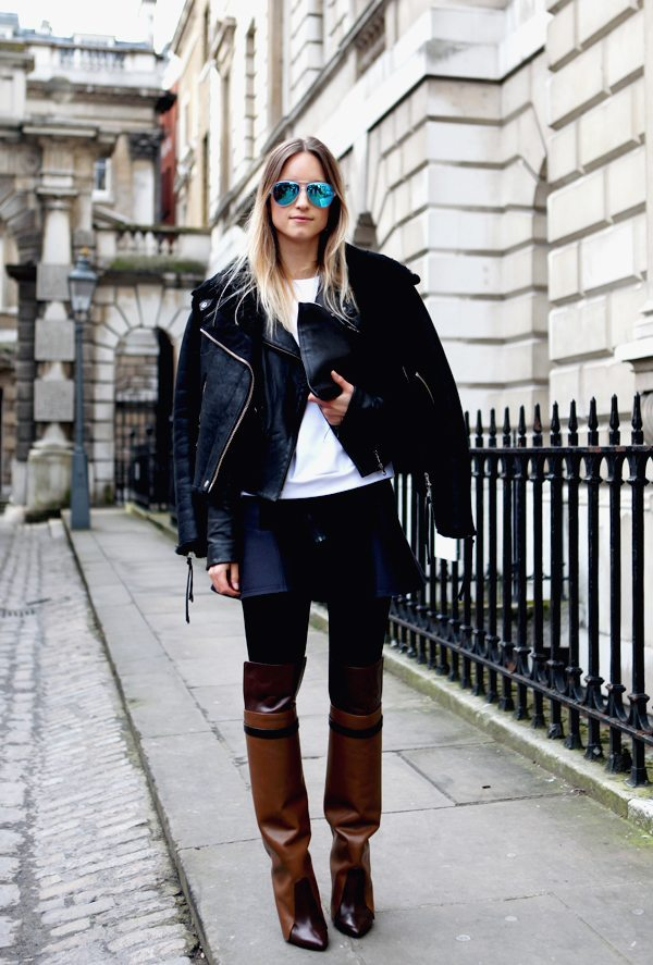 how to wear suede shearling jacket streetstyle