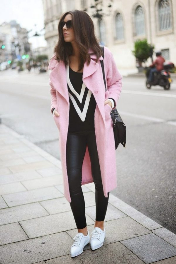 casual pink long coat fall winter outfit