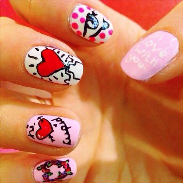 vally day mix and match nail design bmodish