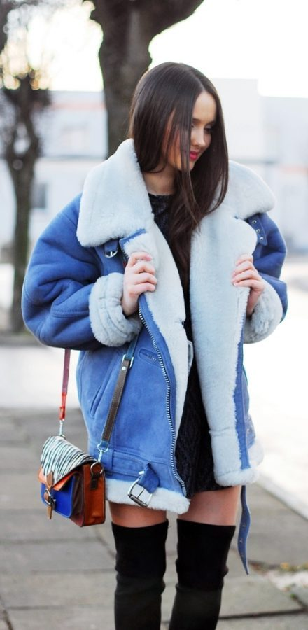 cozy denim shearling jacket outfit for winter