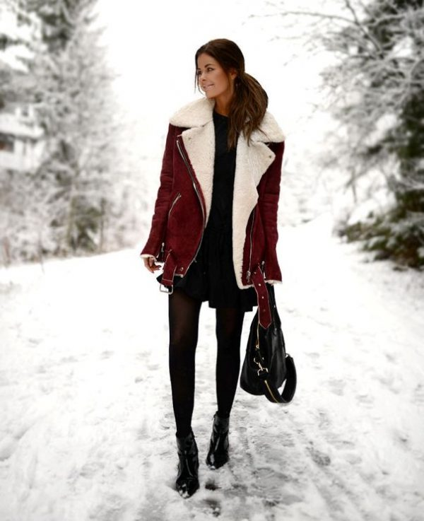 how to wear wine red shearling jacket in winter