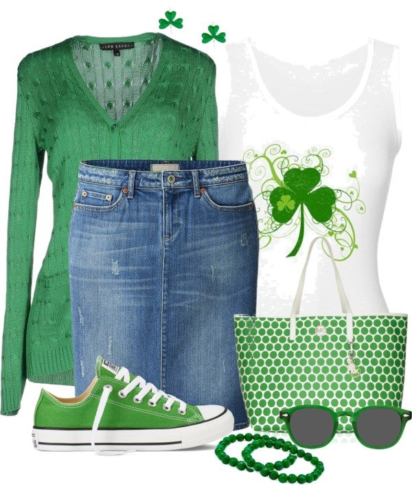 Casual Tank Top With Denim Skirt St Patrick Outfit Bmodish