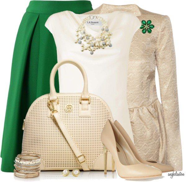 Elegant Green Pleated Skirt St Patrick Outfit Bmodish