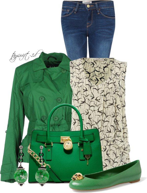 Green Flats Stylish St Patrick Outfit at Work Bmodish