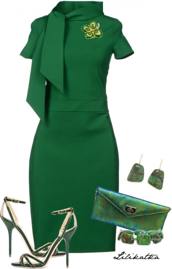 Green Knee Length Dress Elegant St Patrick Outfit Bmodish