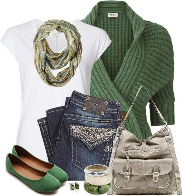Green Wrap Cardigan Casual St Patrick Outfit Bmodish
