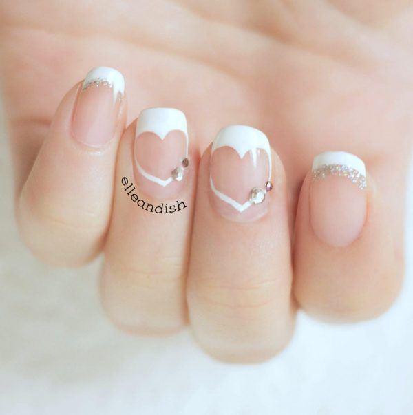 HEART FRENCH TIPS WITH NEGATIVE SPACE bmodish