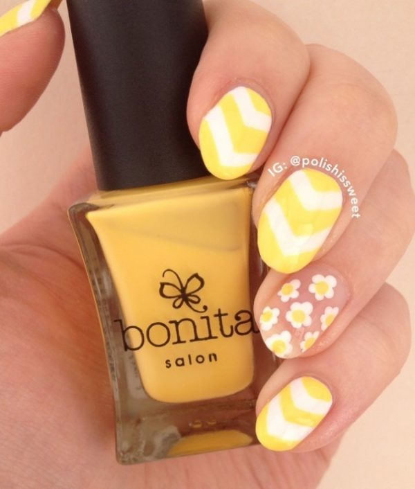 NEGATIVE SPACE FLOWERS & SINGLE CHEVRONS nails bmodish