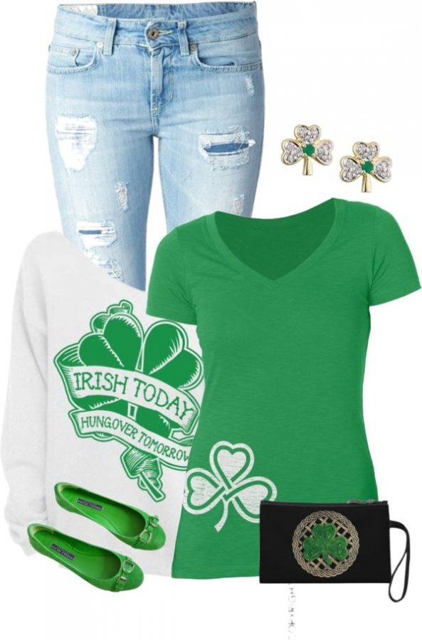 Open Shoulder Sweatshirt Casual St Patrick Outfit Bmodish