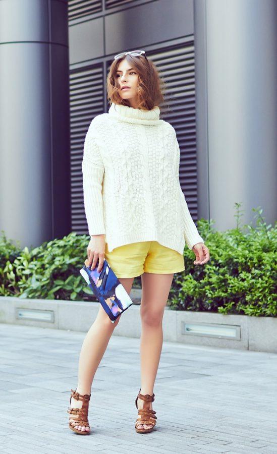 Oversized-sweater-yellow-short-gladiator-sandals bmodish