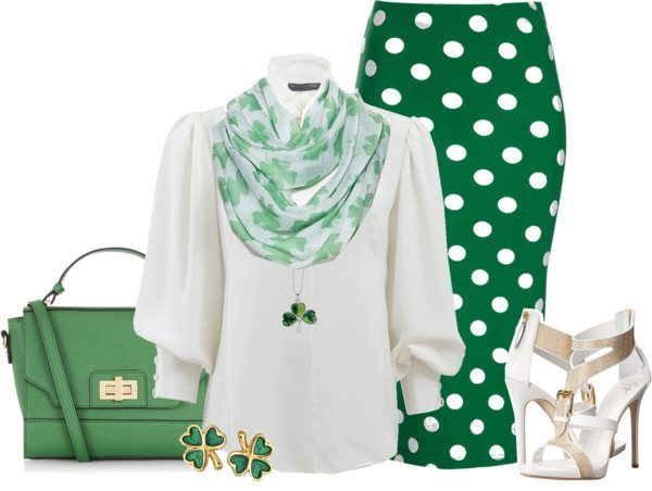 Polka Dots Pencil Skirt With Blouse St Patrick Outfit Bmodish