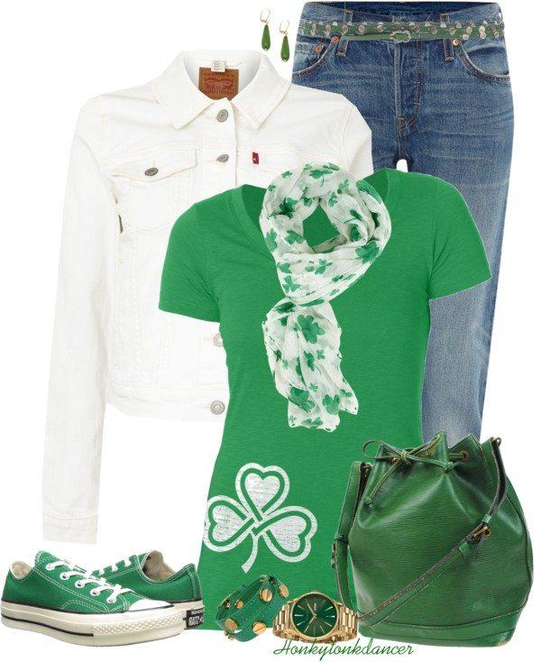 Shamrock T Shirt Casual St Patrick Outfit Polyvore Bmodish