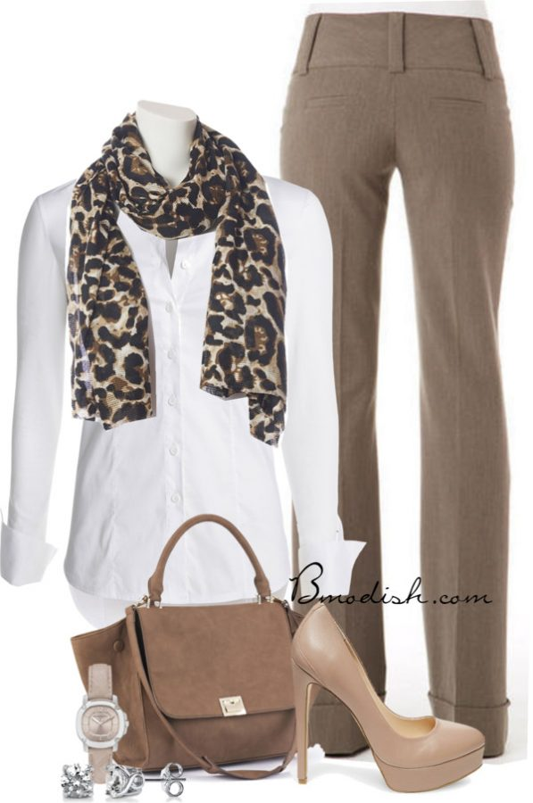 Simple work outfit with leopard scarf touch bmodish