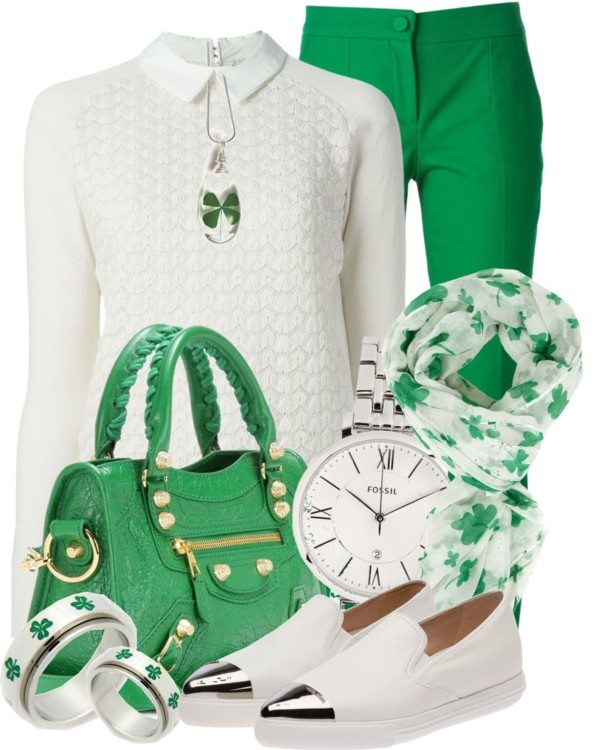White and Green Casual St Patrick Outfit Bmodish
