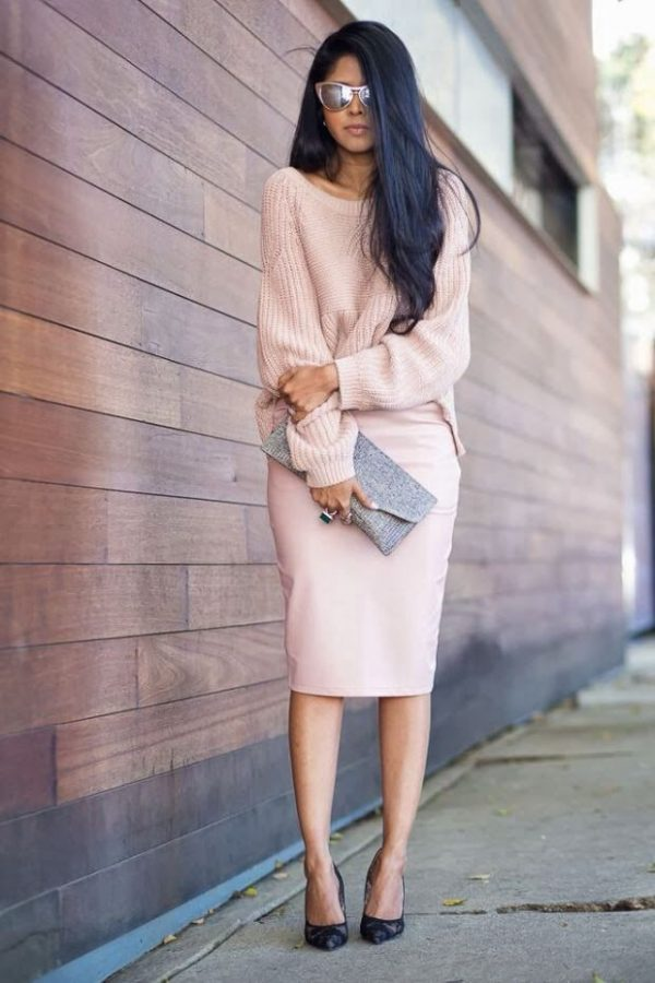 all pink outfits jumper and pencil skirt bmodish