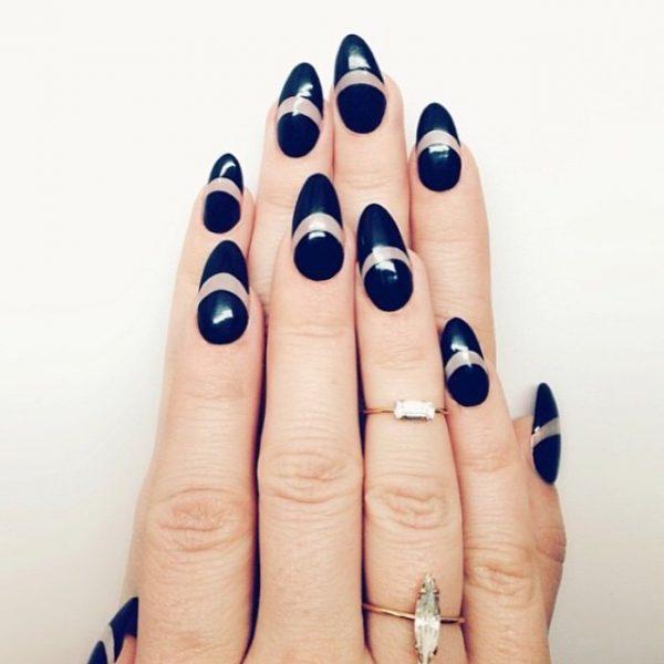 almond shape negative space nails bmodish