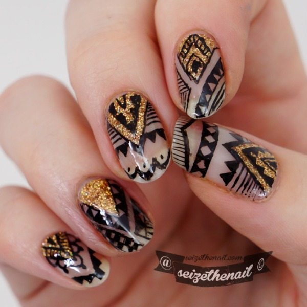 aztec with gold negative space nails bmodish