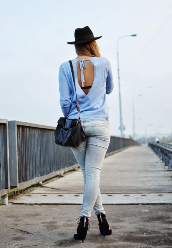 baby blue open back jumper outfit bmodish