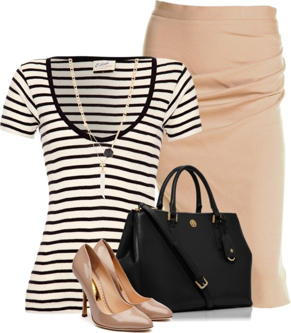 basic tee with pencil skirt work outfit bmodish