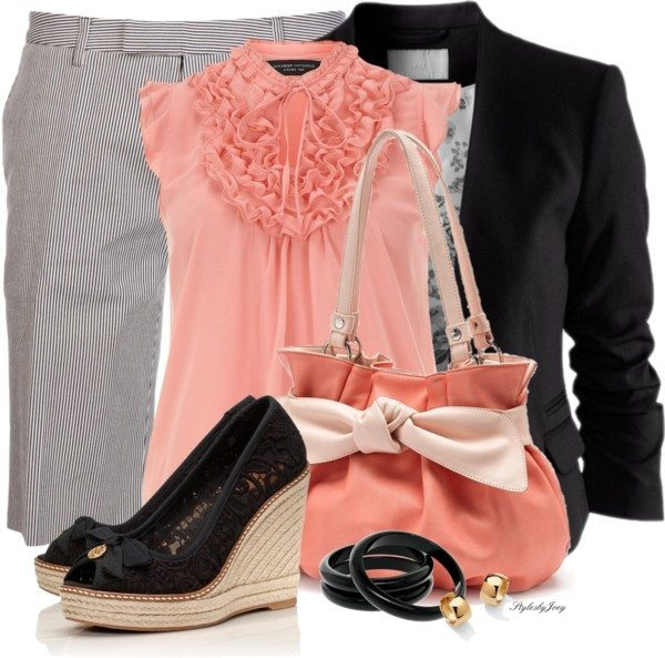 bermuda and peach blouse work outfit bmodish