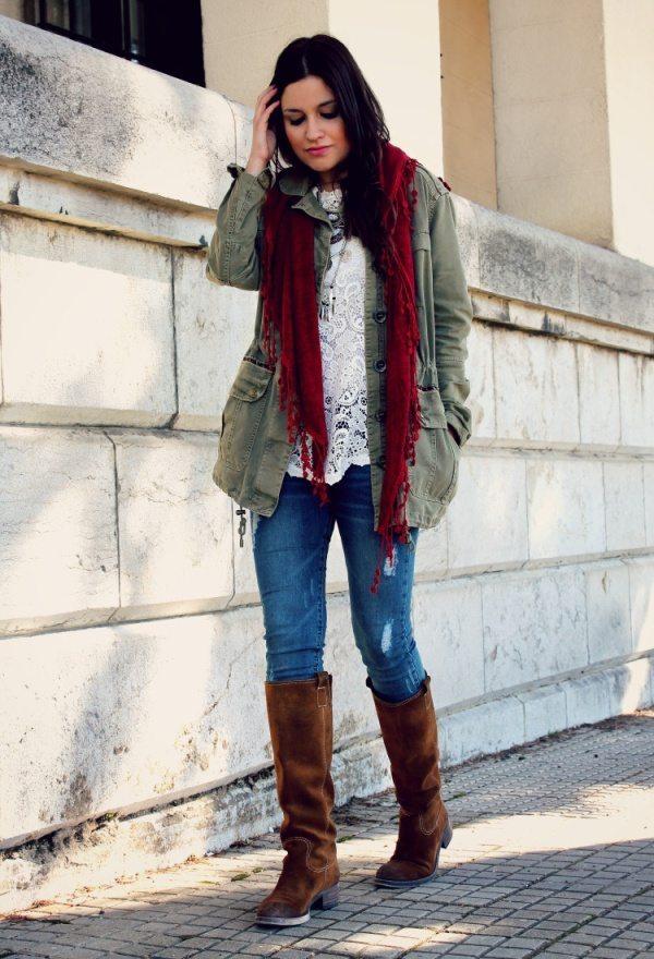bershka olive green parka jackets casual winter outfit bmodish