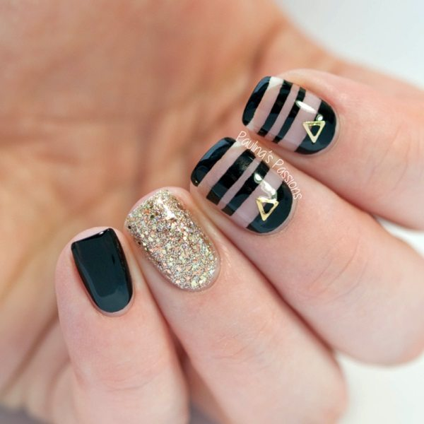 black and gold negative space nails bmodish