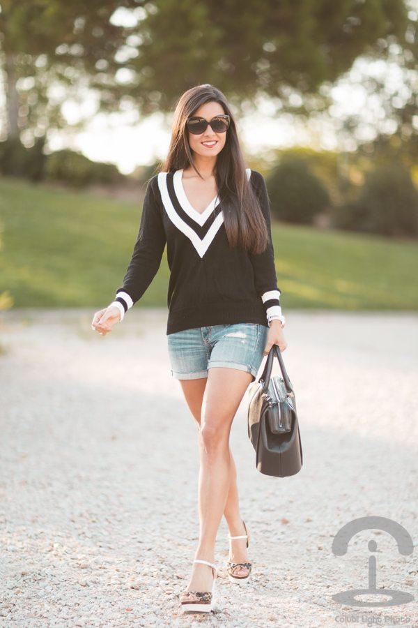 black and white v neck jumper outfit bmodish