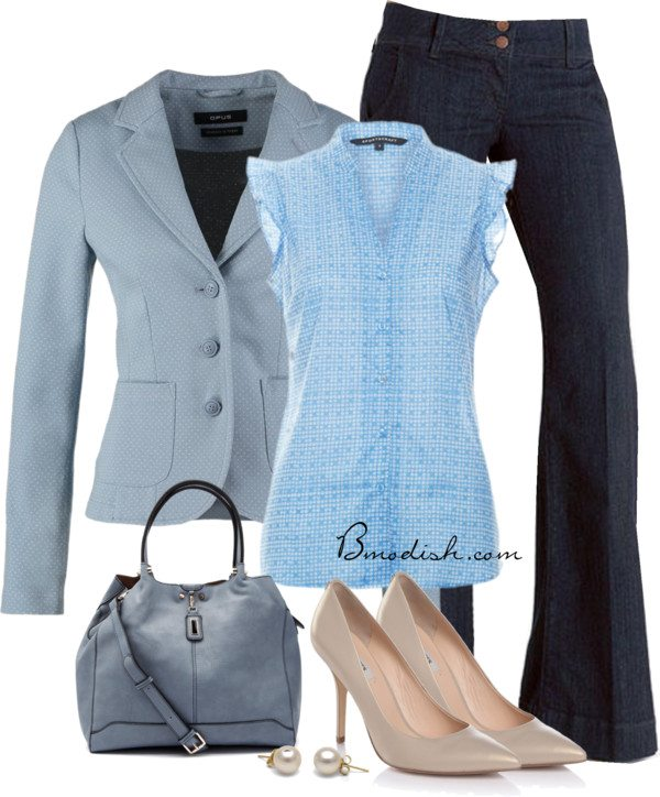 blue blouse with blazer casual work wear bmodish