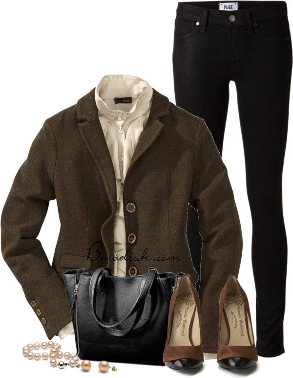 brown tweed blazer casual work outfit bmodish