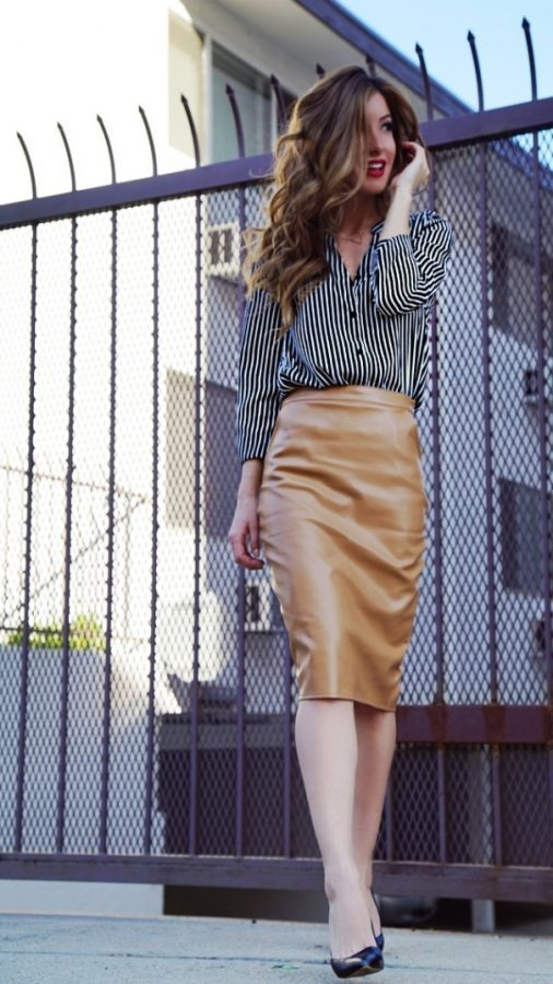 camel skirt with striped shirt work outfit bmodish