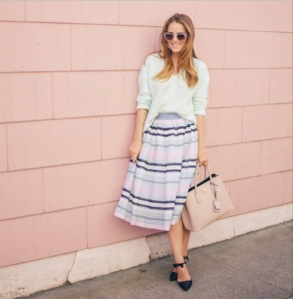 cozy pastel sweater with skirt bmodish