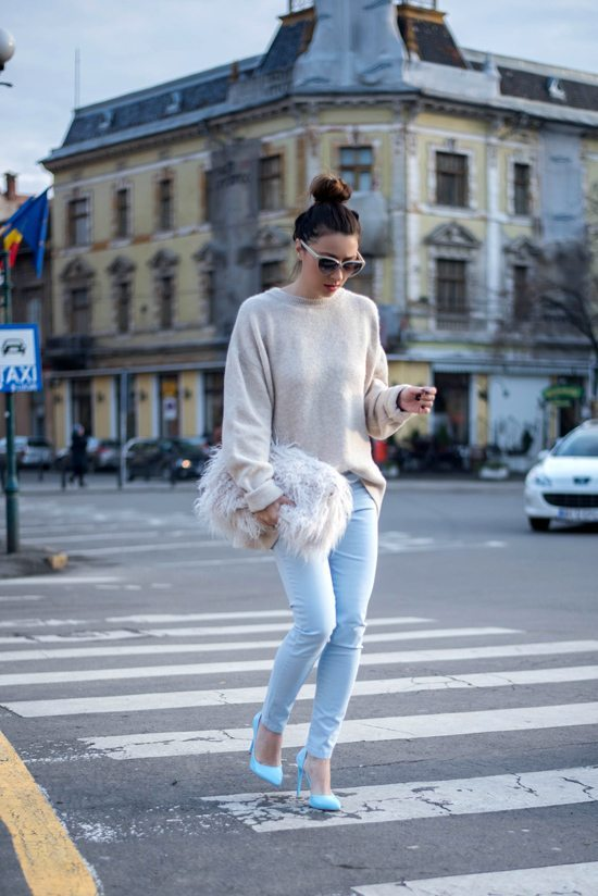 cream jumper with baby blue pants via bmodish