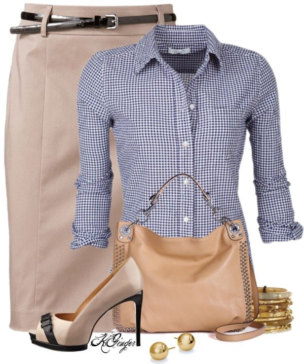 pencil skirt with blouse casual work outfit