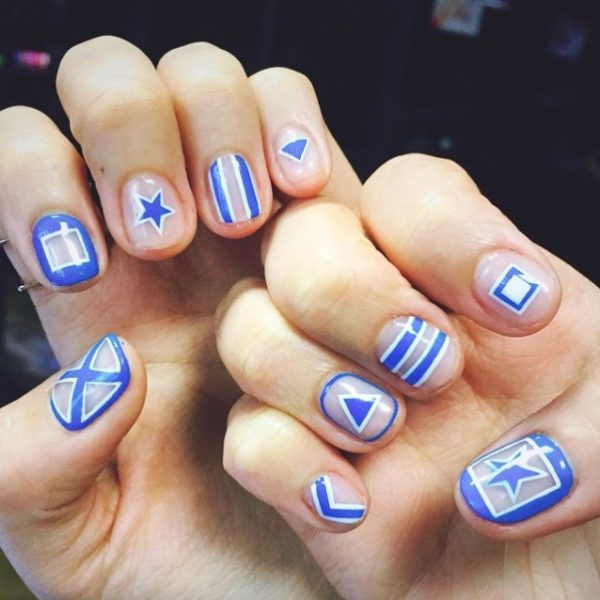 cute blue and white negative space nails instagram bmodish