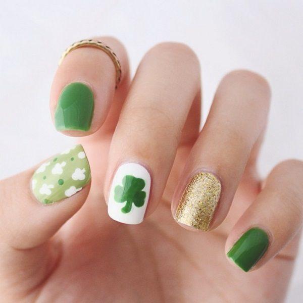 cute mini clover st patrick nail art bmodish