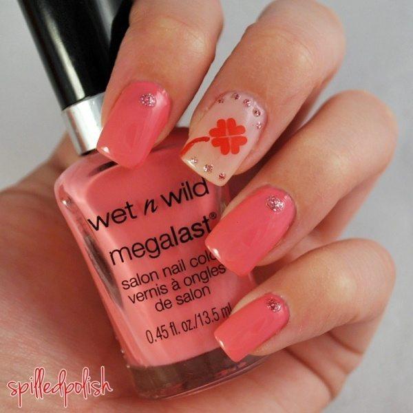 cute pink st patrick nail design bmodish